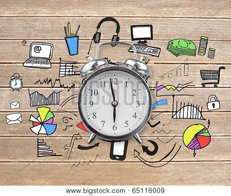 Alarm clock against wooden surface with planks and doodle poster
