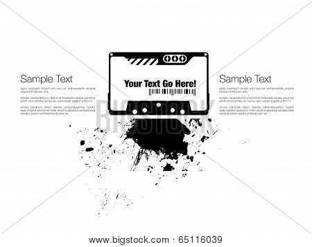 audiocassette with ink splash design template