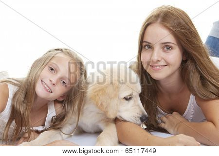 family pets pup with smiling girls poster