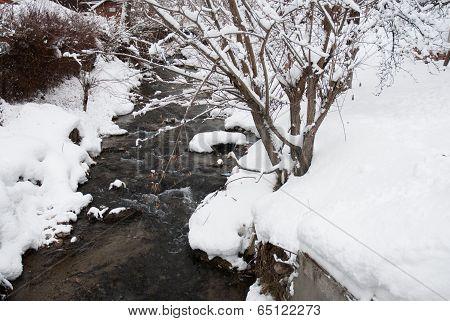 Winter landscape house. Mountain village in the Bran,Romanian Carpathians