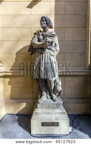 FRANKFURT, GERMANY - MAY 7, 2013: statue at frankfurt stock exchange that symbolizes the australian continent