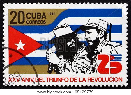Postage Stamp Cuba 1984 Castro And Che Guevara