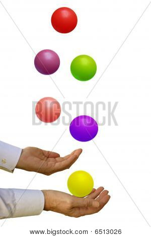 Man with too many balls in the air - on white