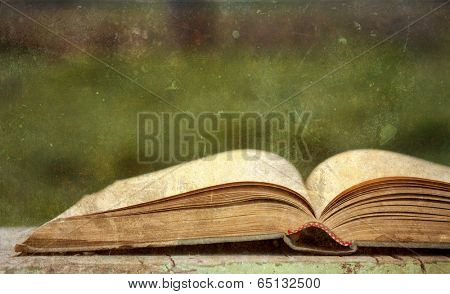 Old open book on vintage background