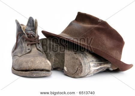 Old Workboots And Hat