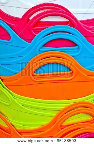 Abstract Background Of Colorful Plastic Baskets
