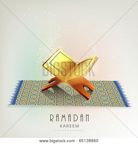 Beautiful greeting card design with Islamic holy book Quran Shareef on carpet for Ramadan Kareem.