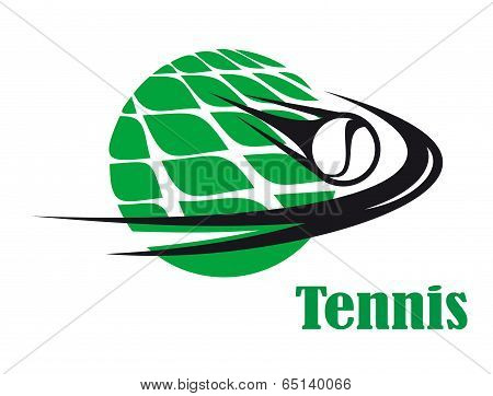 Tennis ball speeding across a net