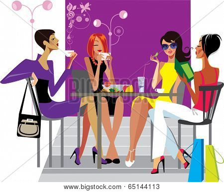 girlfriends at lunch in cafe