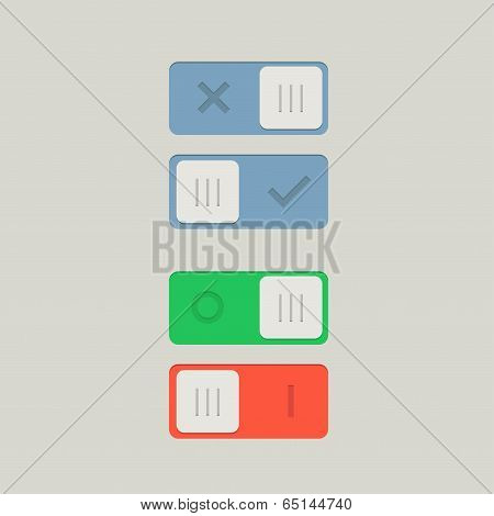 Toggle Switch On and Off position. Button. Vector Illustration