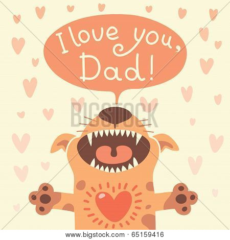 Card Happy Father's Day with a funny puppy.