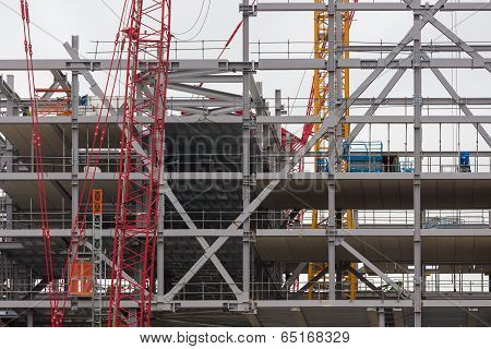 Construction Site Of A New Building Of Steel And Concrete Floors