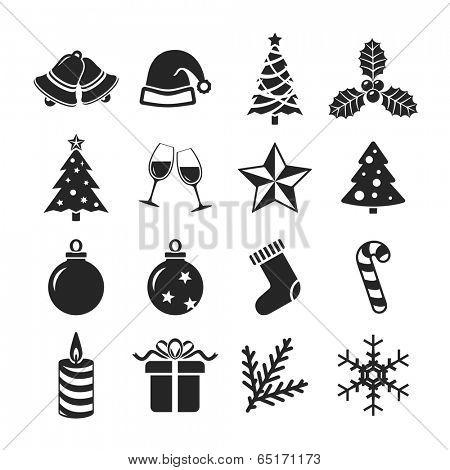 Christmas icons set. Raster version