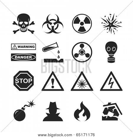 Danger and warning icons. Raster version