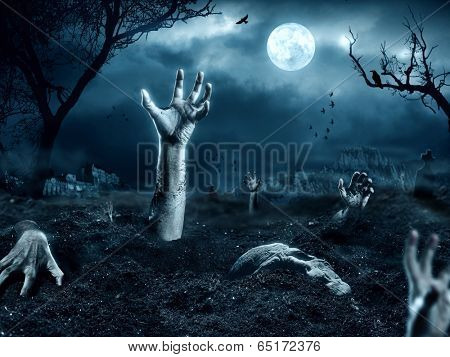 Zombie hand coming out of his grave