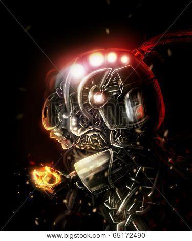 Futuristic sci-fi detailed metal robot holding a fire butterfly art