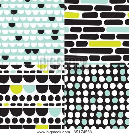 Seamless organic retro basic pastel geometric repeat pattern scandinavian style in vector