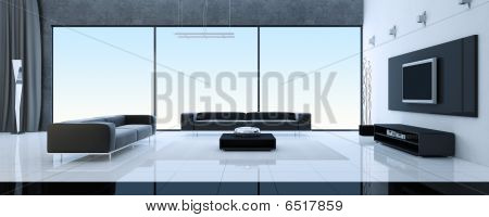 Modern interior of a drawing room (3d rendering)