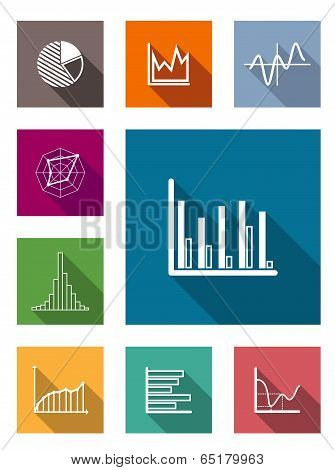 Color flat icons for various types of diagrams