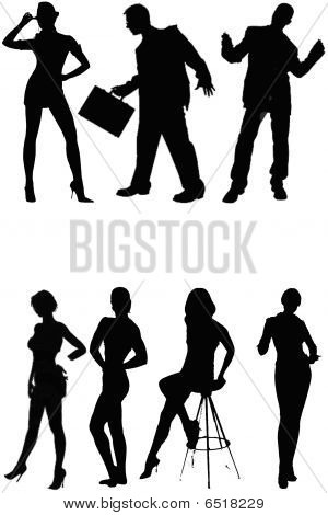 People´s Silhouette Isolated a On White Background