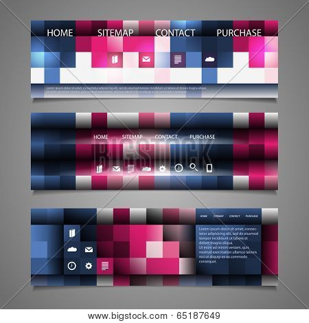 Web Design Elements - Abstract Header Design with Colorful Checkered Pattern