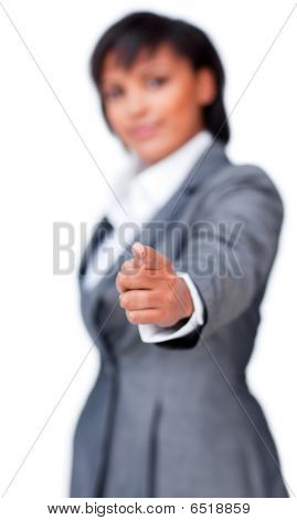 Businesswoman Pointing At The Camera