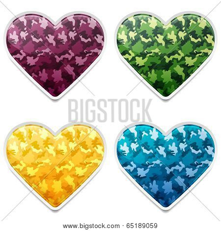 Colorful Camouflage Hearts