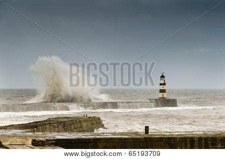 Crashing Waves Over Seaham Harbour