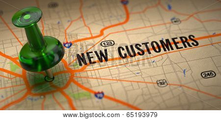 New Customers  - Green Pushpin on a Map Background