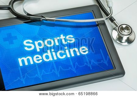 Tablet with the text Sports medicine on the display