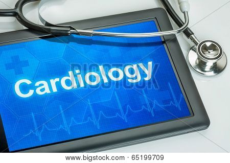 Tablet with the medical specialty Cardiology on the display