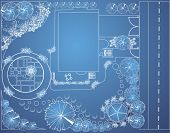 Vector blueprint of landscape architectural project, garden plan with tree symbols poster