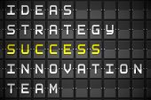 Success buzzwords on digitally generated black mechanical board poster