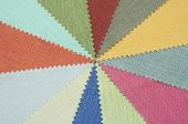 Multi color fabric texture samples for background poster