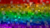 rainbow mosaic from various shiny little squares poster