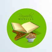Open islamic holy book Quran Shareef with fresh dates and stylish text Ramadan Mubarak . poster