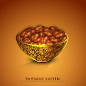 Holy month of muslim community Ramadan Kareem greeting card with fresh dates for Iftar food. poster
