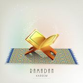 Beautiful greeting card design with Islamic holy book Quran Shareef on carpet for Ramadan Kareem. poster