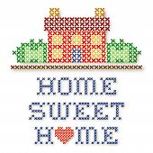 Retro cross stitch embroidery design Home Sweet Home with a big red heart needlework house in landscape graphic isolated on white background. poster