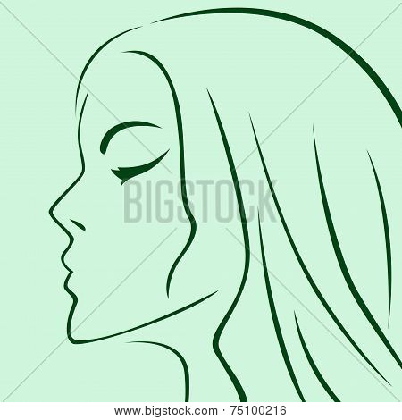Female Laconic Heads Outline In Green