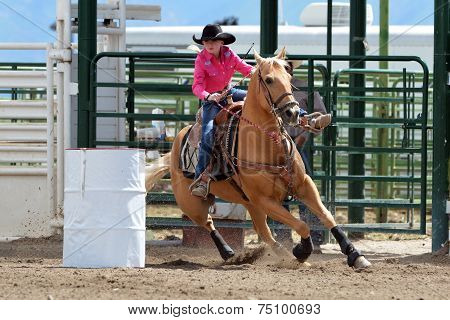 Beautiful Cowgirl Barrel Racing