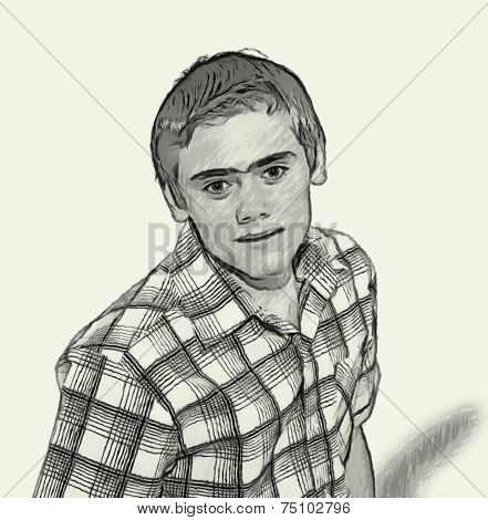 Sketch Teen Boy Body Language - Staring Overly Fixated