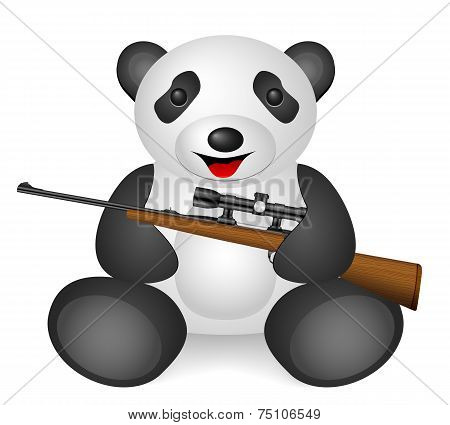 Panda rifle sight on a white background. poster