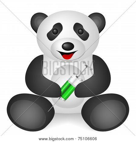 Panda syringe on a white background. Vector illustration. poster