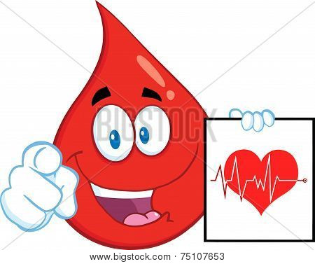 Red Blood Drop Character Pointing With Finger And Presenting Ecg Graph On Red Heart