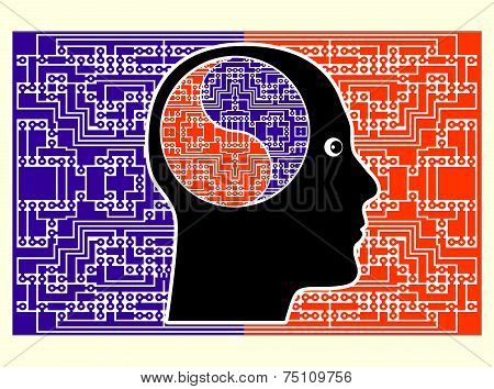 Futuristic vision of a person with supernatural brain power poster