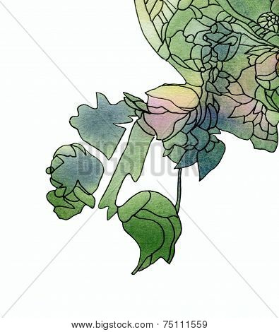 Green watercolor and ink background texture with abstract art nouveau rose pattern isolated on white. poster