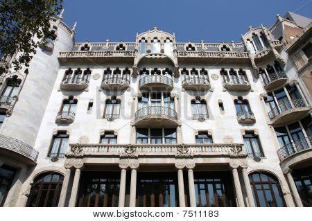 Barcelona Spain. Famous landmark in Eixample district - Modernisme (Catalan art nouveau) style. poster