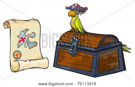Cartoon image of Pirate map, chest and parrot. poster