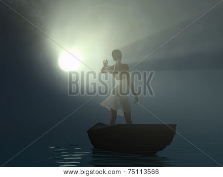 woman in a boat blinded light beam